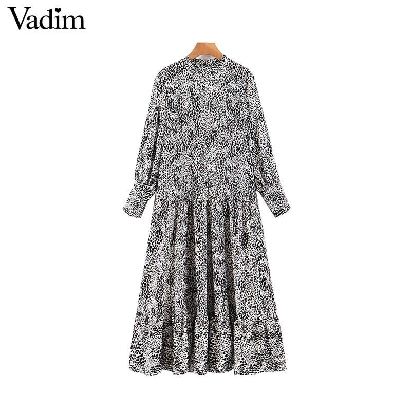toptan kadın bağbozumu leopar baskı midi elbise hayvan deseni uzun kollu O boyunlu kadın casaul şık elbiseler vestidos QC853