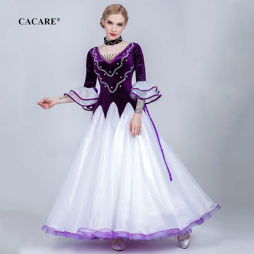 Vestidos de baile de salón Competencia Tango Vals vestido Baile Flamenco Standard D0734 vestidos de diamantes de imitación de Big Hem Sheer mangas de malla