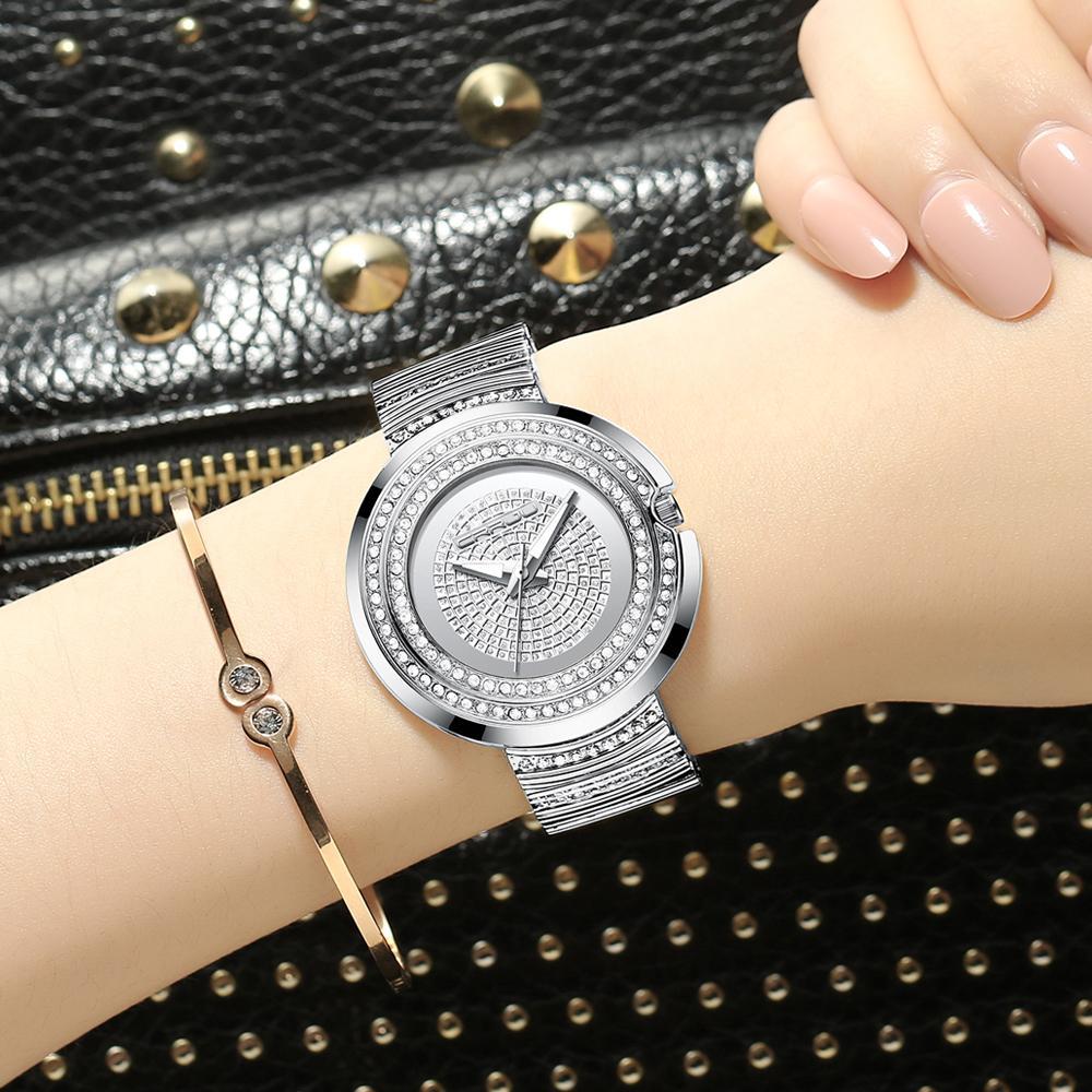 2020 Les femmes de la mode Casual Quartz Analogique Montres CRRJU femmes diamant bracelet en cristal strass Feminino horloge montre-bracelet cadeau