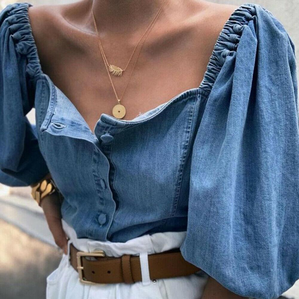 Kadınlar Bayanlar Kapalı Omuz Denim Uzun Kollu Gömlek Gevşek Bluz Moda Seksi Kadınlar Bluz Streetwear Tops