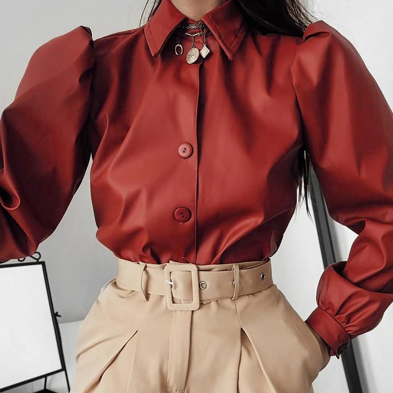 Женщины Solid Color повседневные Длинные Puff рукавом нагрудные шеи рубашки моды женские рубашки из кожи Дизайнерские футболки