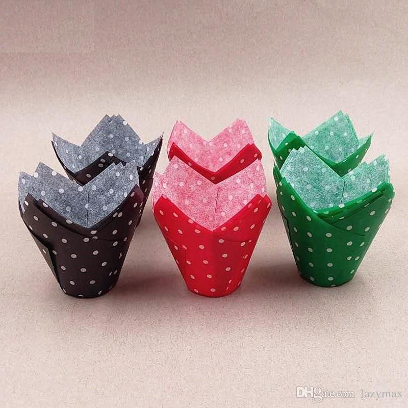 30*40MM Paper Cake Cup Holder Muffin Tulip Cupcake Wrapper Grease-proof Bake Cake Wrapper Cake Tray Baking Decoration 1000 pieces DHL