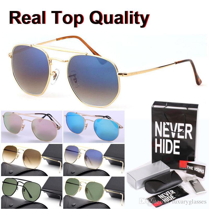 Nuevas gafas de sol de la llegada de la marca de los hombres de las mujeres de la moda espejo lente de cristal Deportes gafas de sol con la caja original, paquetes, accesorios, todo lo