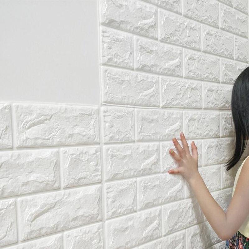 Teste padrão 3D parede PE Foam Stickers tijolo impermeável adesivos auto na parede Room Living Room Home Decor For Kids Bedroom etiqueta
