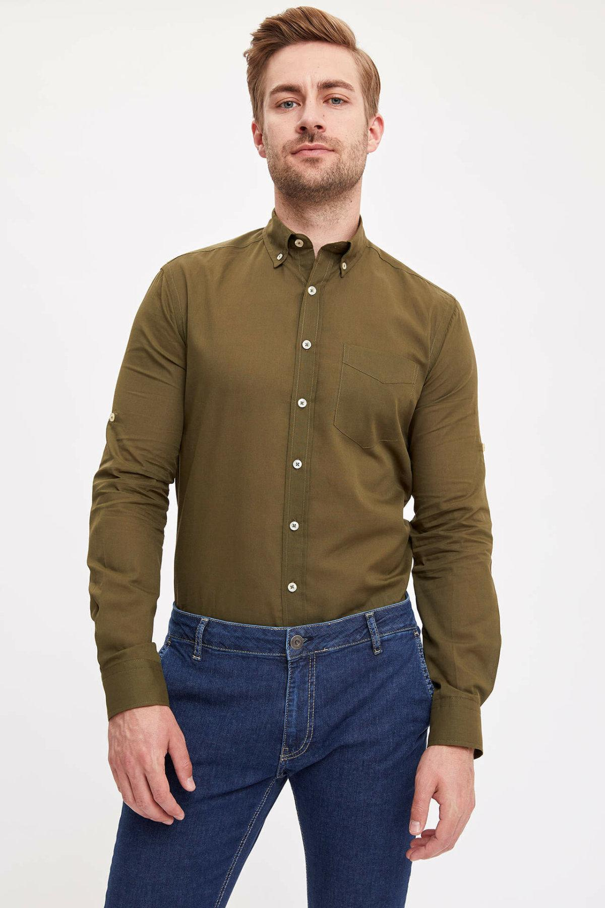 DeFacto Man Summer дышащий Solid Color Tops Рубашки Мужчины Повседневная рубашка с длинным рукавом Смарт Мужчины отложной воротник рубашки-K2094AZ19SM