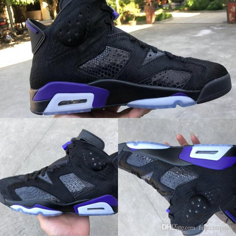 Newest Social Status 6 Pony Hair Cow Fur Mens Designer Basketball Shoes 2019 VI Black Dark Concord Fashion Sports Sneakers Come With Box