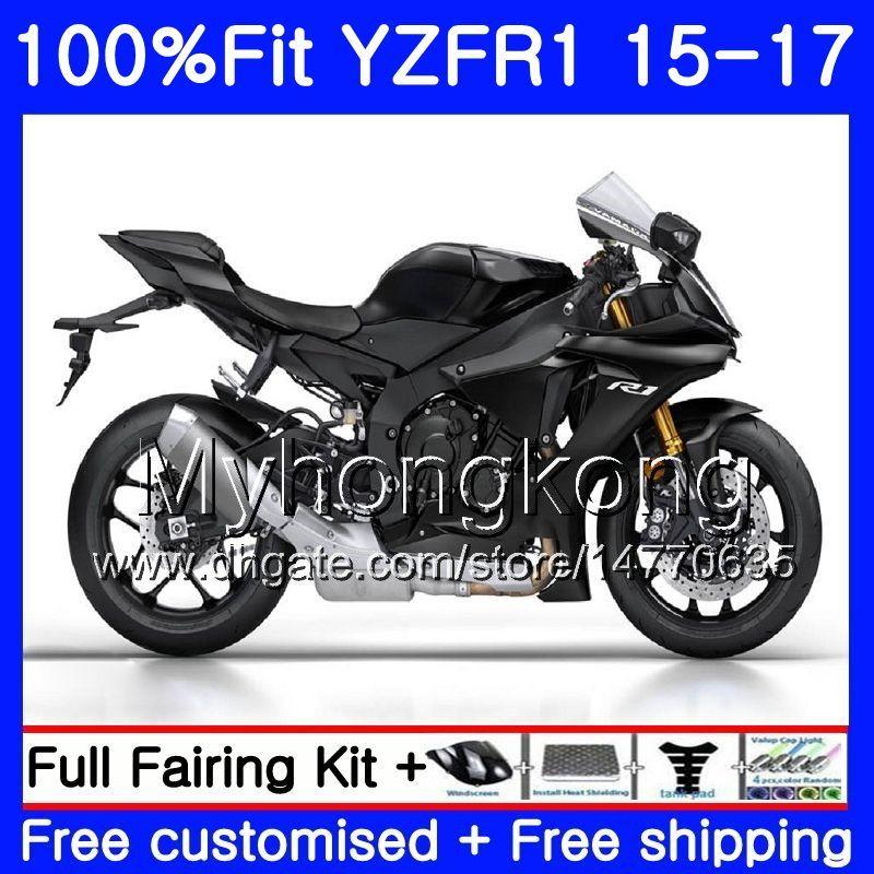 YAMAHA 용 주입 바디 YZF-1000 YZFR1 2015 2016 2017 243HM.27 YZF R 1 1000 YZF-R1 YZF1000 YZF R1 플랫 블랙 프레임 15 16 17 페어링 키트