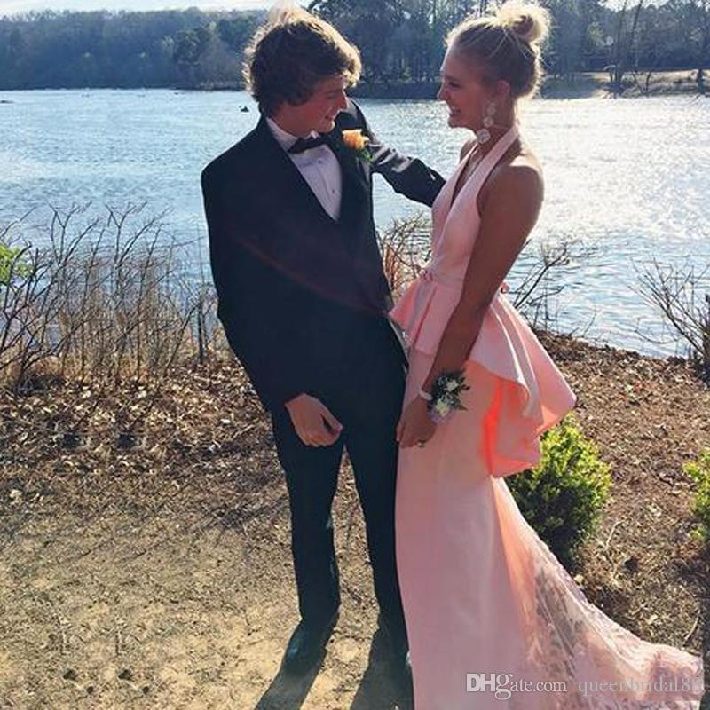 2019 Pink Long Sweep Mermaid Prom Dresses with Peplum Halter Neck Evening Gowns Sexy Backless Maid of Honor Dress for Bride