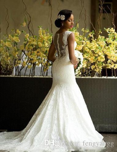 حديقة فساتين الزفاف حورية البحر الوهم العنق أثواب الزفاف الرباط المغطى زر الظهر قطار الاجتياح ثوب الزفاف