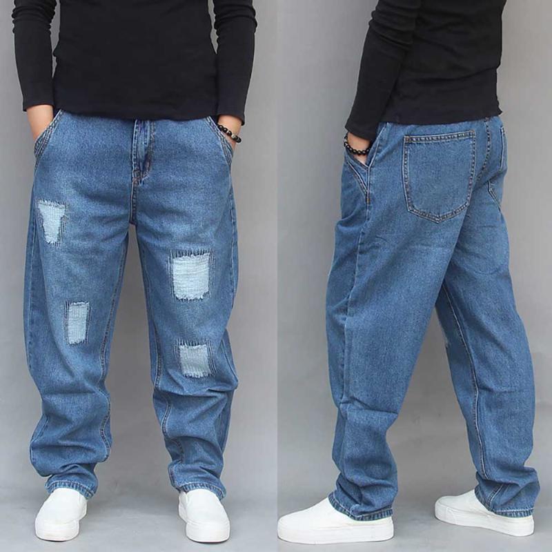 Jeans masculinos harem rasgado homens soltos folhosas calças de denim dissuldentadas retalhos casuais calças casuais streetwear homem roupas