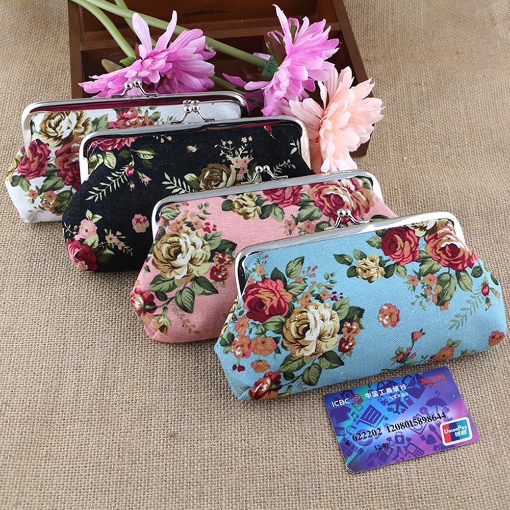 Pink Sannysis Women Lady Retro Vintage Flower Small Wallet Hasp Purse Clutch Bag
