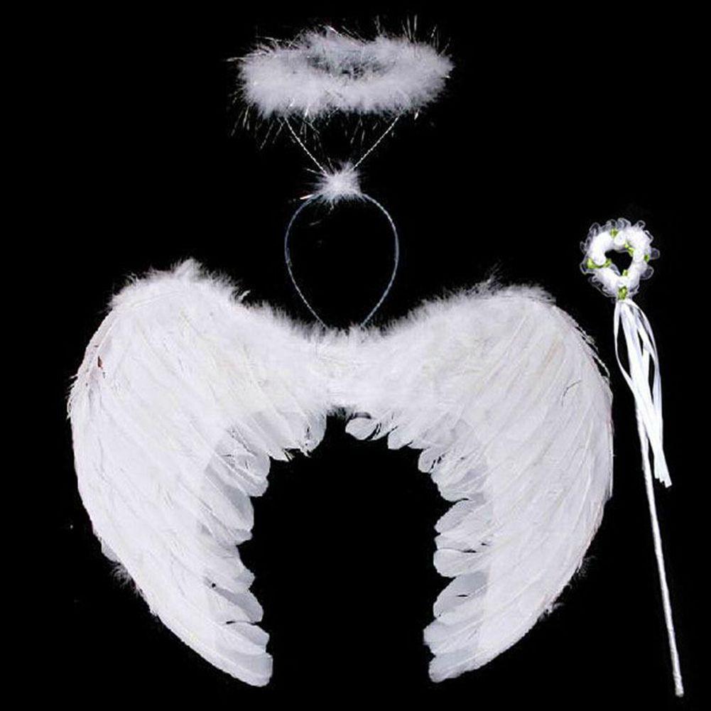 45*35 см перо Ангел Фея Крылья палочка ореол 3 шт. В комплекте Хэллоуин партии маскарадный костюм для детей Дети до 8 лет