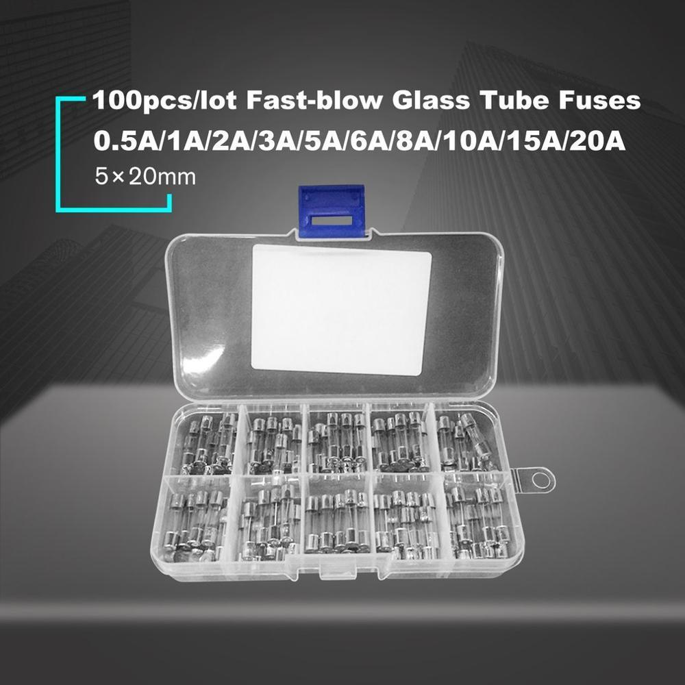 100pcs Fusible de Tubo de Vidrio Soplado 5mmx20mm Con Protecci/ón de Sobrecarga y Sobreintensidad 0.2a