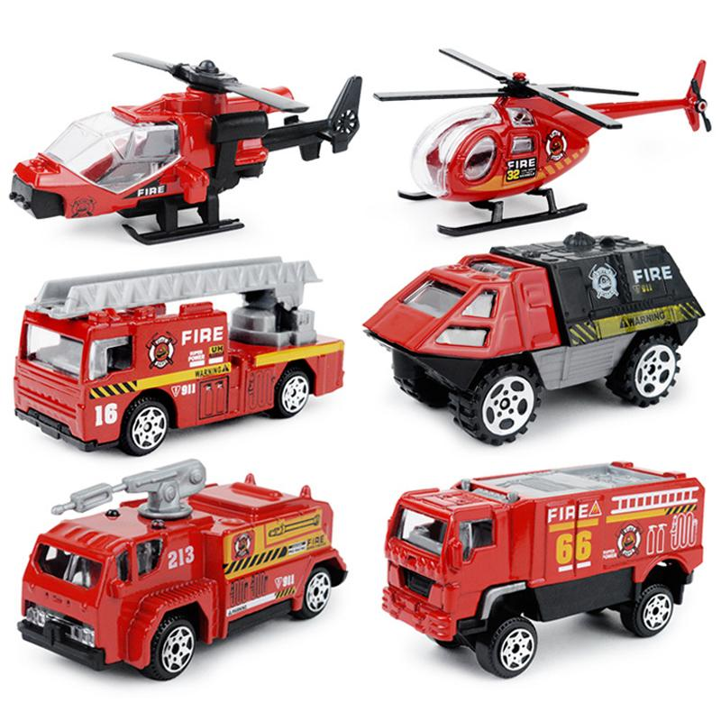 6PCS/Set 1:87 Firefighter Fire Fighting Truck Engine Helicopter Control Operator Protection Fireman Kids Toys Boys for sam SH190910