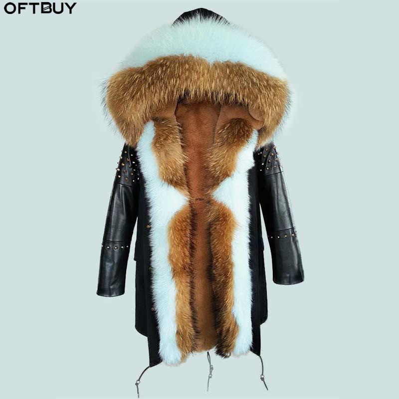 OFTBUY 2020 Langer Parka realer Pelz-Mantel-Winter-Jacke Frauen-natürliche Schaffell-Leder-Niet Hülsen-Oberbekleidung Street neuer beiläufiger