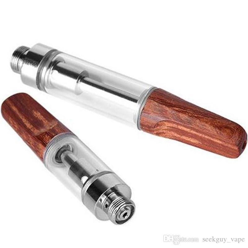 New Dabwoods Carts Red Wood Drip Tips Ceramic Coil Vape Cartridges 0.5ml 0.8ml 1.0ml Pyrex Glass Vaporizer TH105 TH205 510 Thick Oil Tanks