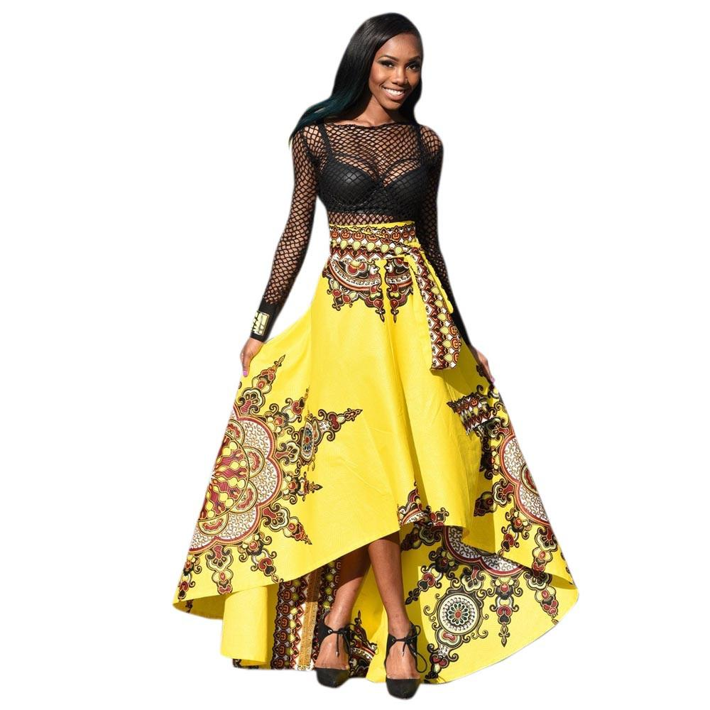 party Skirt Women felpe largas mujer stile africano vita alta maxi gonna lungo vintage formale d90527