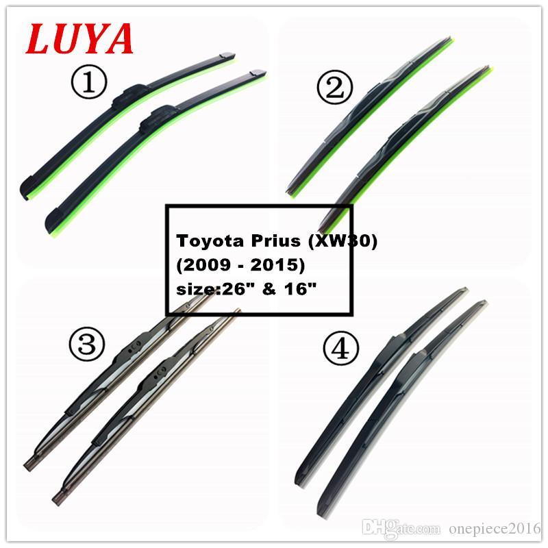 """Luya Quatro tipos de limpador Lâmina no carro limpador de pára-brisas para Toyota Prius (XW30) (2009 - 2015) tamanho: 26"""" 16"""""""