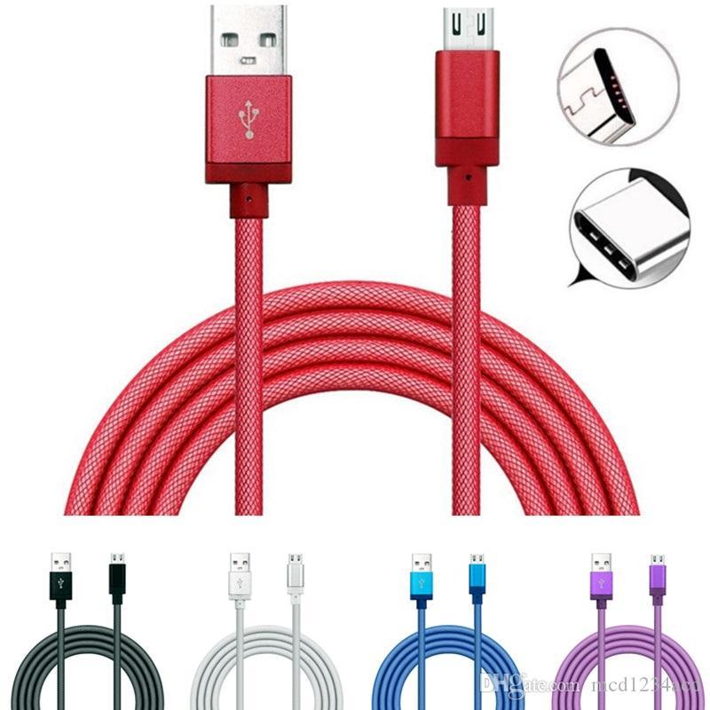 Hızlı Şarj 1 M 2 M 3 M Typec Mikro USB Kablosu Örgülü Balık Net USB C Kabloları Samsung S8 S10 HTC LG Android Telefon Için