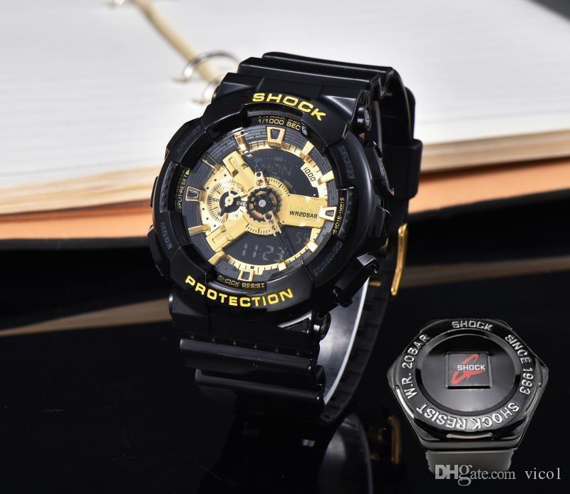 Choque Marca 110ES mujeres y hombres reloj deportivo G Estilo doble pantalla LED de la manera del reloj de pulsera digital multifunción Montre