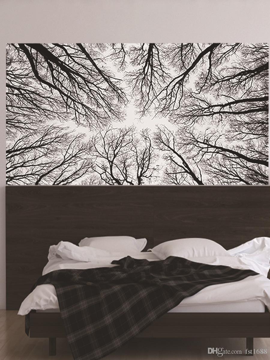 الفروع 3D أسود أبيض المستخلص غابة شجرة اللوح الأمامي ملصقات غرفة نوم الديكور الفن جدارية للجدران PVC مقاوم للماء الفينيل ملصق مائي