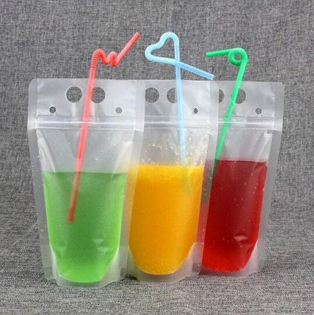 Toptan 100 adet Sıcak Temizle İçecek Torbalar Çanta Buzlu Fermuar Stand-up Plastik tutucu Kapanabilen Isı Doğrulayıcılı saman Çanta İçme