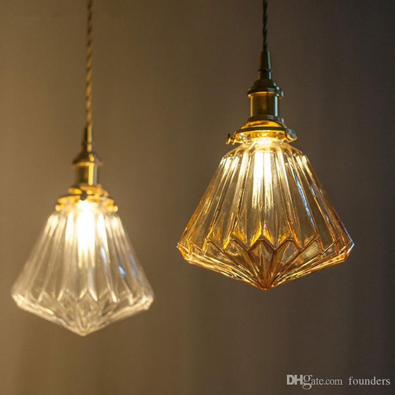 Nordic Retro LED Pendat lumière cristal verre modèle Lampe suspendue E27 Style Japonais Simplicité restaurant bar une tête pendan