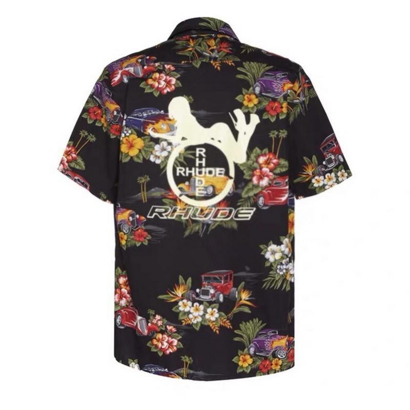 19ss وقح قصيرة الأكمام rh عطلة المحملة هاواي زهرة قميص المرأة الطباعة الرجال النساء الصيف شاطئ خمر عارضة الأزياء HFLSCS031