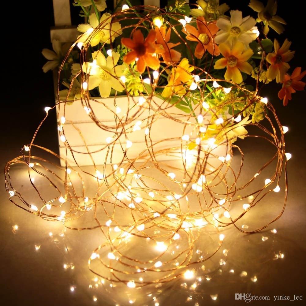 Fio de cobre LEVOU Luzes Cordas Fada Corda Luz Garland Estrelado Branco Quente 2 M-20 M Solar Powered Para A Árvore de Natal Festa de Casamento Xmas Decoração