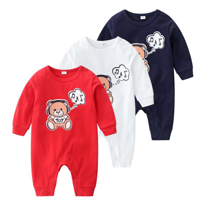 Cute spring and autumn men and women baby clothes cotton long sleeve cute cartoon round neck baby clothes baby jumpsuit