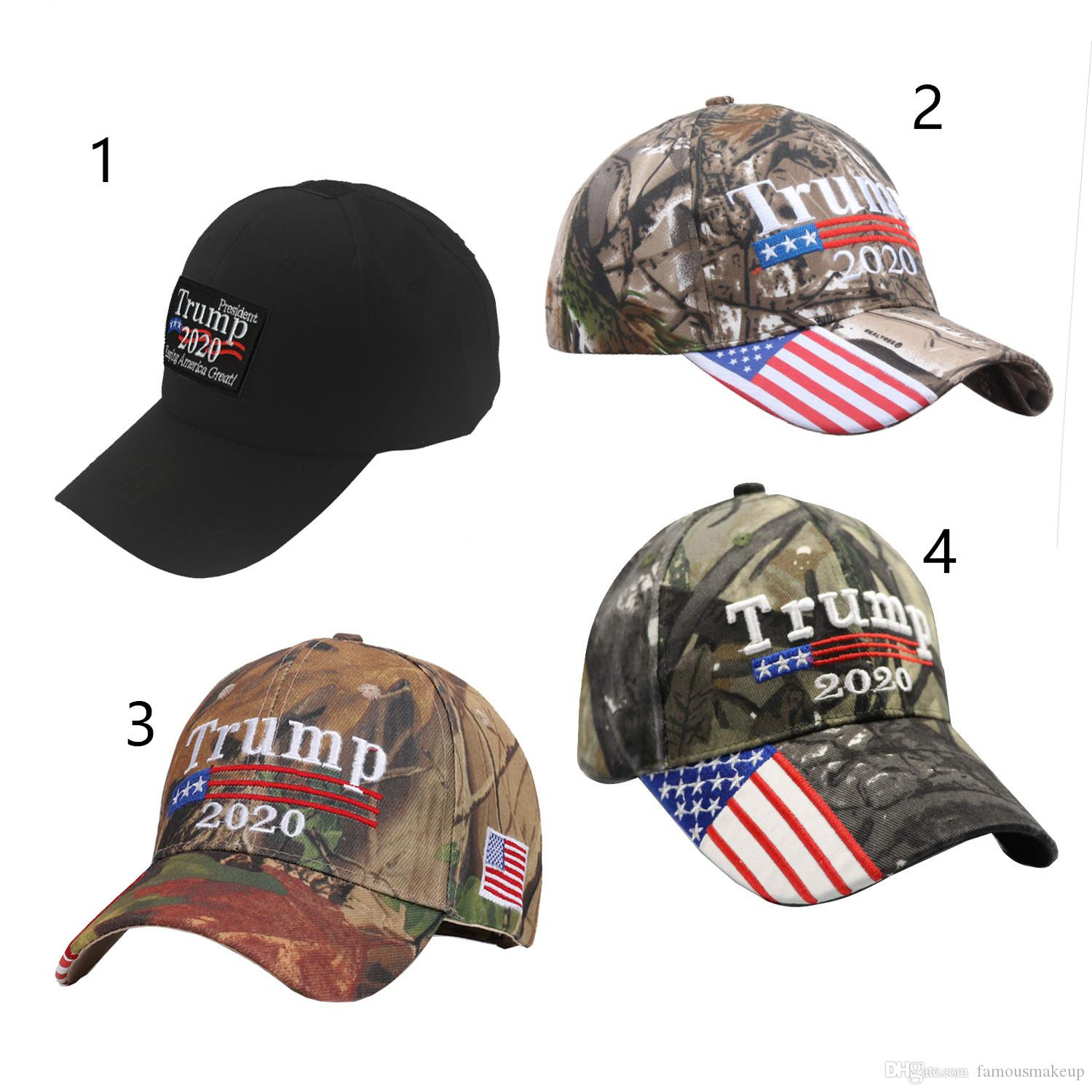 Donald Trump 2020 Camouflage Cap Hat Embroidered USA Flag Keep America Great Siy