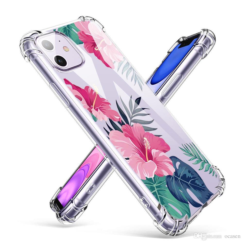 아이폰 12 미니 11 프로 최대 6 7 8 플러스 XR XS S20를위한 꽃 투명 TPU 에어 쿠션 전화 케이스 회화 울트라
