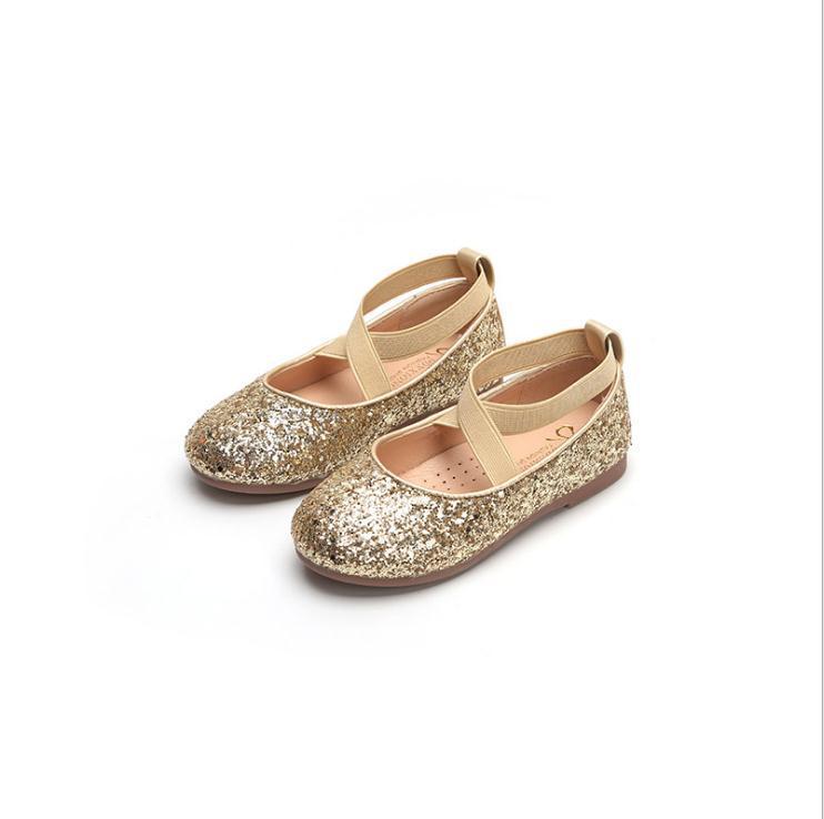 Niña pequeña tacones altos tacones de oro lentejuelas de lentejuelas de la princesa de la princesa para los zapatos de la boda del partido de las niñas de los niños