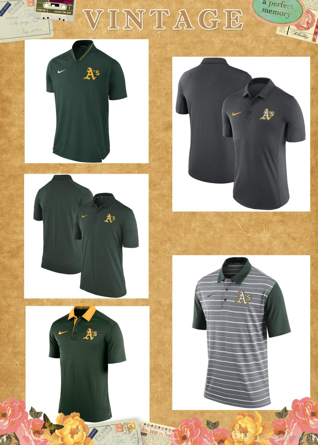 WSAKL45-1 Polo para hombre Elite Oakland Athletics Green Authentic Collection Elite Performance