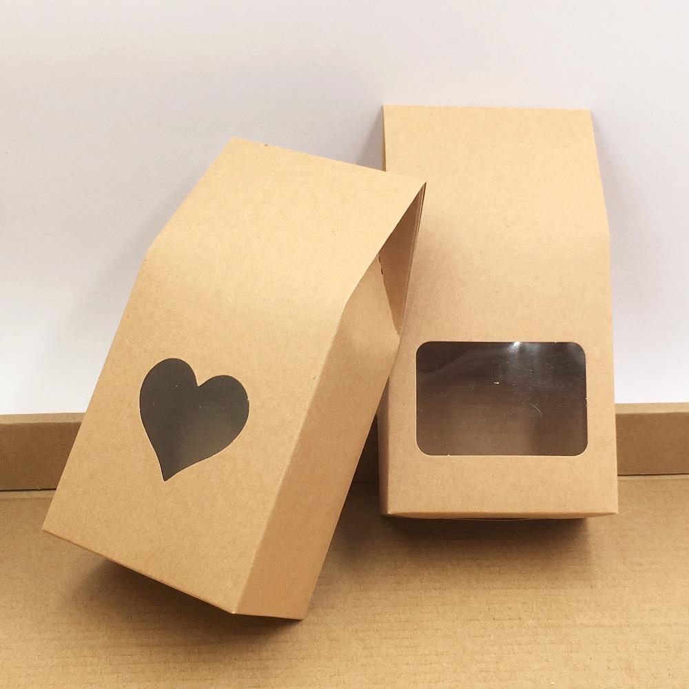 أكياس ورق الكرافت / صناديق الورق البني الوقوف نافذة لحفل الزفاف / هدية / مجوهرات / الغذاء / أكياس التعبئة الحلوى 8x5x16 سنتيمتر 50 قطعة / الوحدة