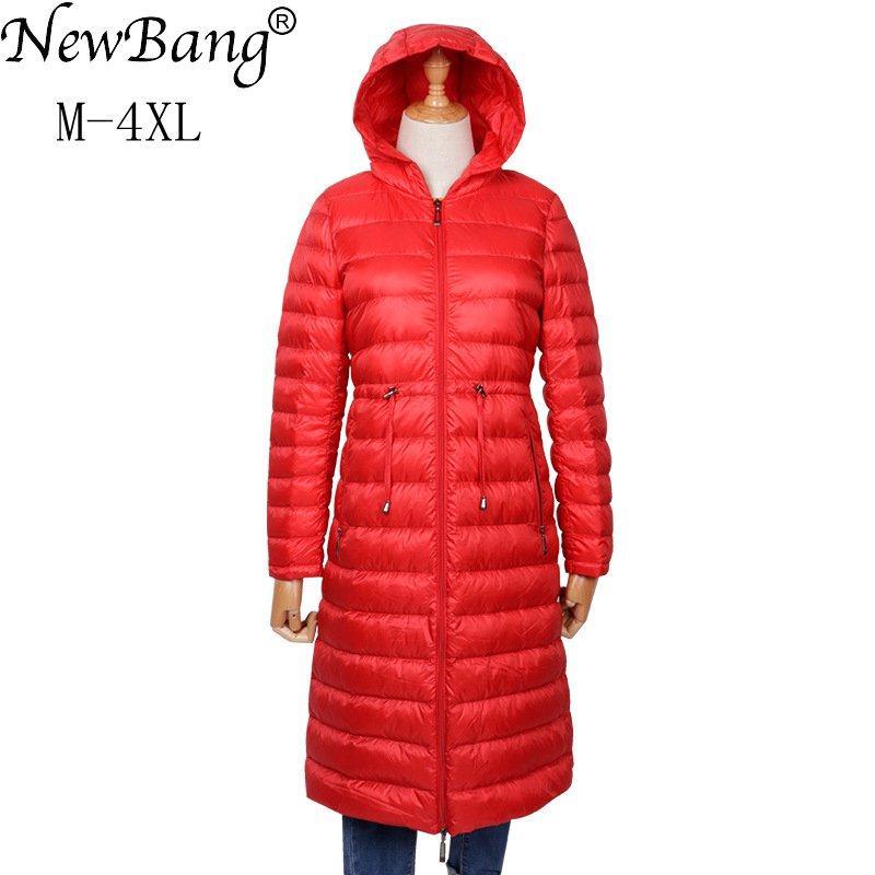 NewBang Марка пуховики зимы женщин пуховик Женщины длинное пальто с капюшоном ветрозащитный Длинные Puffer пальто Толстые Теплые Colothes