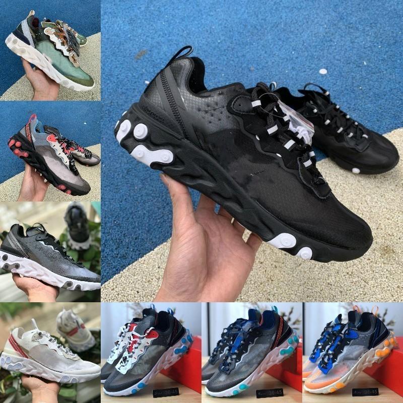Venda Quente 2019 reagir elemento 87 tênis de corrida homens baratos homens mulheres branca negra negro neppuno verde design de treinador azul respirável moda casual sneaker