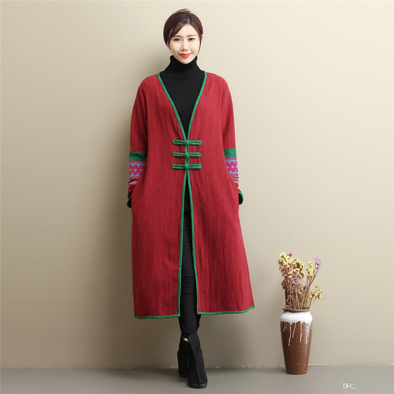 Ретро традиционного досуг Robe пальто хлопок белье оригинального дизайн китайского кардиган длинного тренчкот вышитой кнопка v-образный вырез внешней Шинель