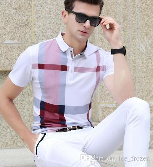 New England plaid di modo di polo degli uomini Camicia a maniche corte maschio casuale del risvolto Polo Londra Brit T-shirt Blu Rosso Taglia M-3XL