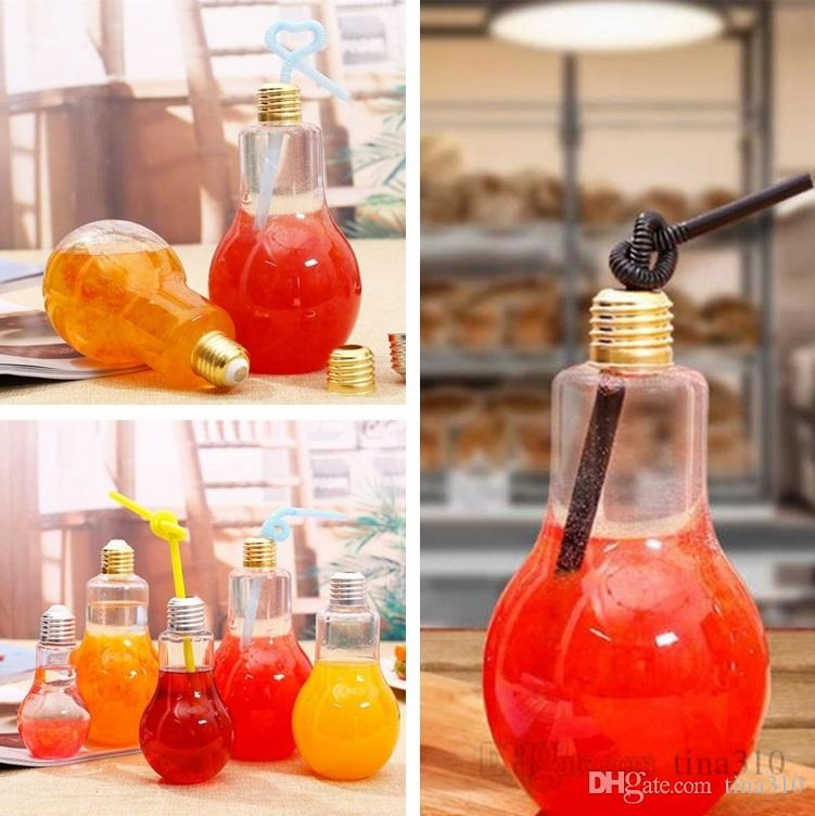 New light bulb beverage bottle milk tea bottle plastic juice bottle creative yogurt cup with straw cup Drinkware tools 4680