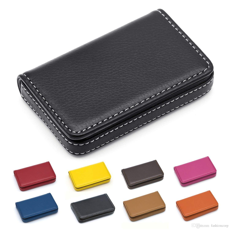 Leather Business Card Holder Case for Men or Women Pocket Credit Name Card Case Holder with Magnetic Shut