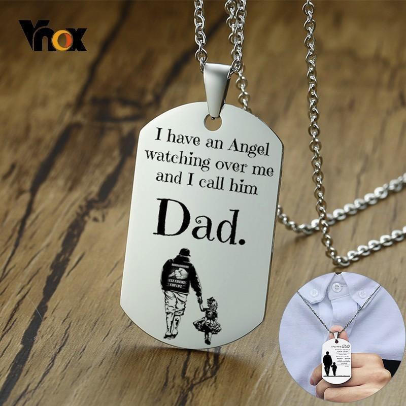 Regalo cane dell'acciaio inossidabile Tag Ciondoli lucide di Vnox assortiti personalizzata Padre per gli uomini Classic collane