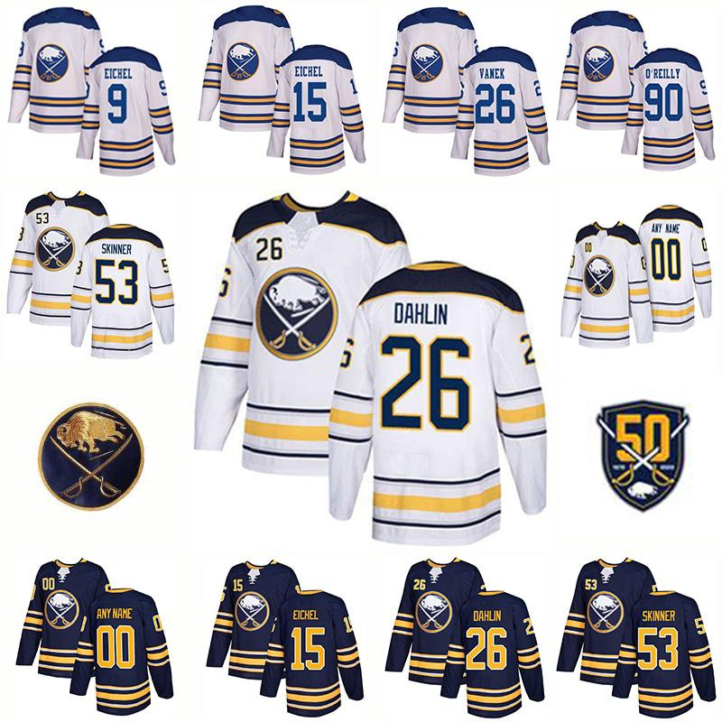 Buffalo Sabres 50e chandail de hockey d'or 9 Jack Eichel 53 Jeff Skinner 26 Rasmus Dahlin 21 Kyle Okposo 55 Rasmus Ristolainen 62 Montour