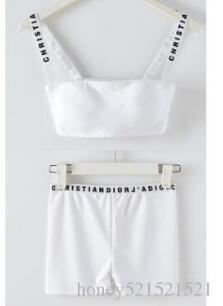 New design women's star same style runway fashion logo letter print spaghetti strap short up-navel crop top vest bustier and short suit