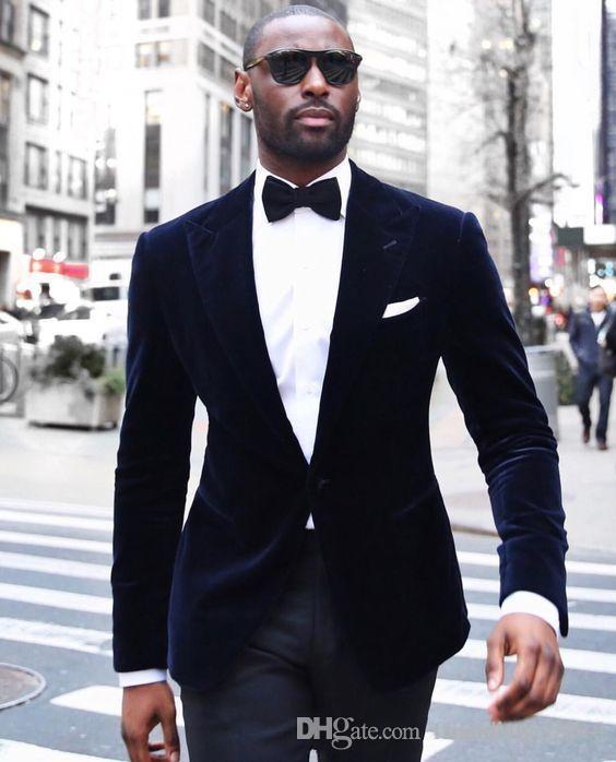 Одна кнопка Новые поступления темно-синий бархат Groom Tuxedos Пик нагрудные Groomsmen Шафер Blazer Мужские свадебные костюмы (куртка + брюки)