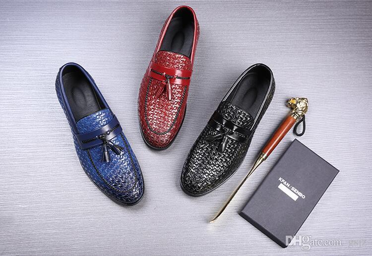 Nuovo stile di lusso elegante nappa formale mocassini da uomo marchio italiano scarpe da sposa in maglia moda Groom vestito scarpe in pelle Z231