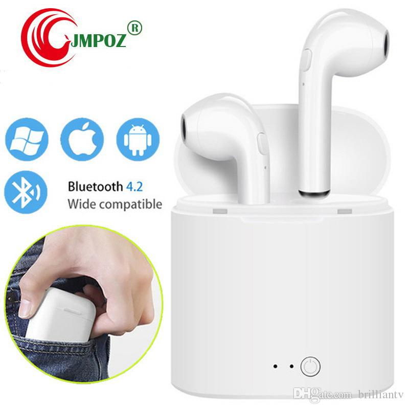 I7s TWS Bluetooth Ohrhörer In-Ear-Stereo-Ohrhörer Drahtlose Kopfhörer-Headset mit Ladebox Mic für iPhone Xs Alle Smartphone Bluetooth 4.2