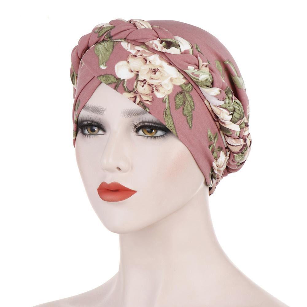 Moda Baskılı Örgü Turban İpeksi Başörtüsü Şapka Kadınlar Kemo kasketleri Müslüman Hicap Şapkalar Kafa Saç Aksesuarları