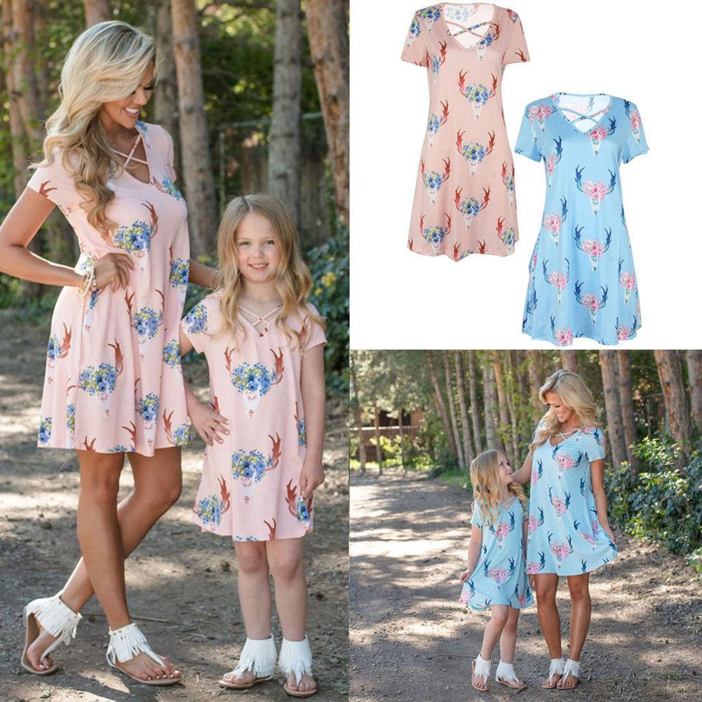 Moda Aile Giydirme Anne kızı Güzel Eşleştirme Çiçek Kadın Kız Uzun Elbise