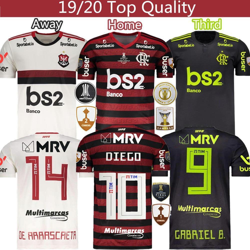 maillot de football Flamengo GABRIEL B. DIEGO Home Away troisième maillot 19 20 Thaïlande de qualité supérieure 2019 de football Survêtement uniforme S XXXL